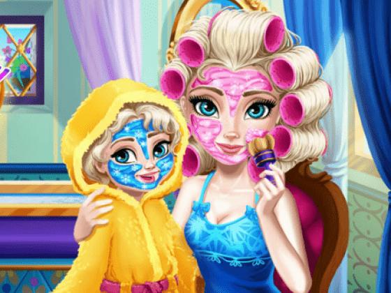 العاب تنظيف بشرة الام وابنتها